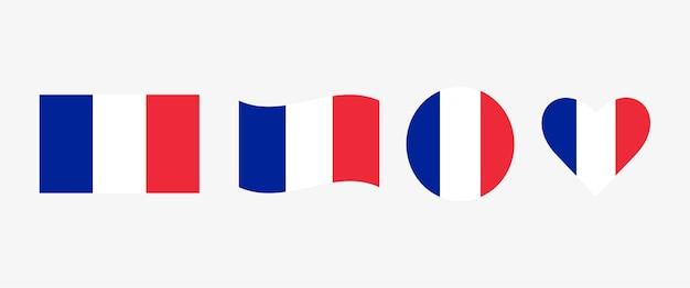 Set van frankrijk vlag hart cirkel vectorafbeeldingen