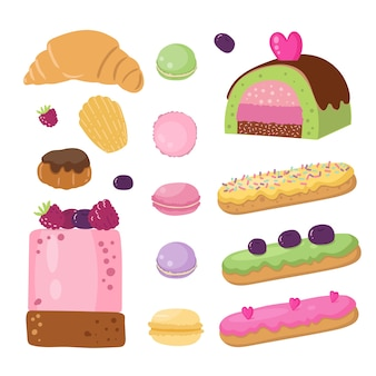 Set van franse desserts