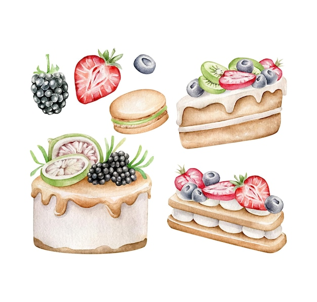 Set van fruit cake geïsoleerd op wit