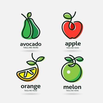 Set van fruit logo-ontwerp