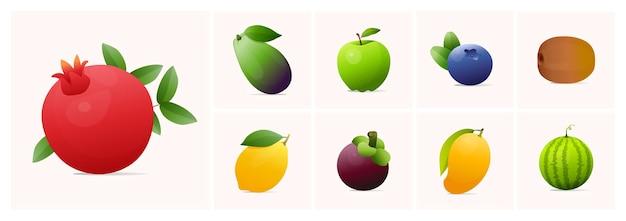 Set van fruit moderne stijl vectorillustraties