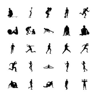 Set van fysieke activiteiten silhouetten vectoren