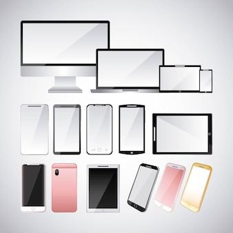 Set van gadgets technologieën digitale responsieve elektronische