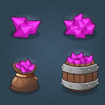Set van game resource crytals beloningsstapels llustration