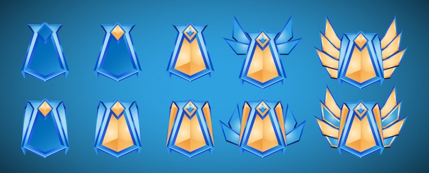 Set van game ui-medailles rang