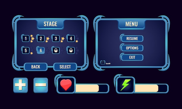Set van game ui rpg board pop-up interface en balk voor gui asset-elementen