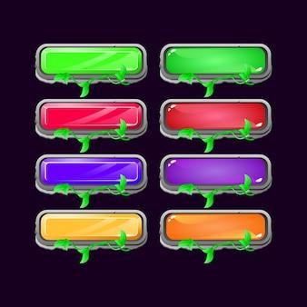 Set van game ui steen laat diamant en gelei kleurrijke knop voor gui asset-elementen