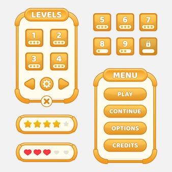 Set van gamemenu-selectie voor rpg en adventure-game, inclusief menu, niveauselectie en opties.