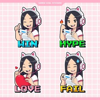 Set van gamer meisje expressie sticker