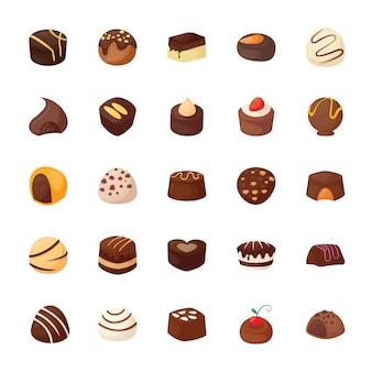 Set van geassorteerde chocolaatjes vector iconen
