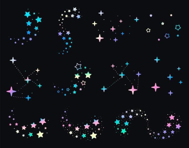 Set van geassorteerde fonkelende sterren en veelkleurige sterrenbeelden op zwarte achtergrond