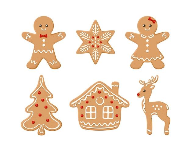 Set van geassorteerde peperkoek kerstkoekjes.