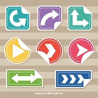 Set van gebogen pijlen stickers