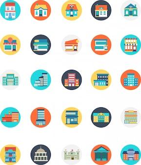 Set van gebouw pictogram met veel typen en modellen