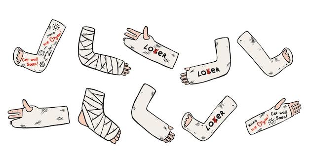 Set van gebroken benen, armen en handen gegoten doodles met grappige geschriften