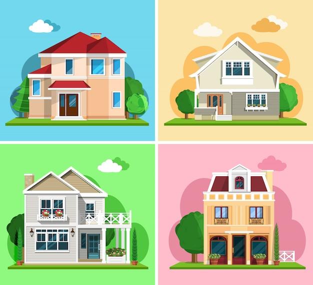 Set van gedetailleerde kleurrijke cottage huizen. moderne gebouwen in vlakke stijl. illustratie
