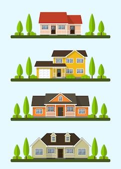 Set van gedetailleerde kleurrijke cottage huizen. stijl moderne gebouwen. illustratie