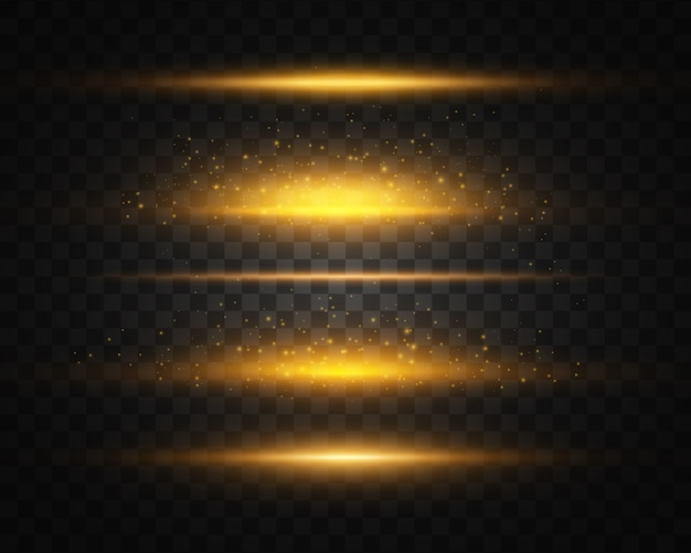 Set van geel, goud gloeiend licht explodeert op transparantie