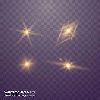Set van geelgoud gloeiend licht ontploft op transparant Premium Vector