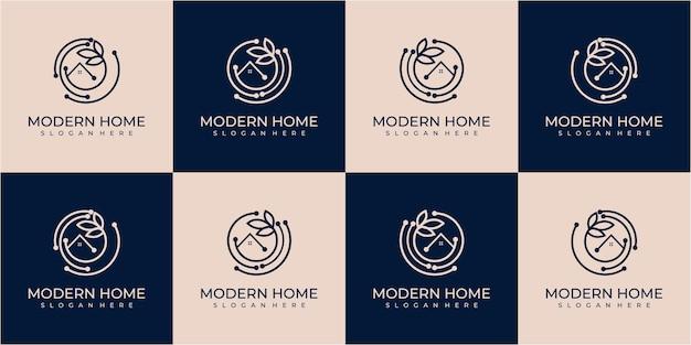 Set van gegevens home logo sjabloon volledig bewerkbare vector voor uw merk en bedrijf. data home in cirkel logo ontwerpconcept