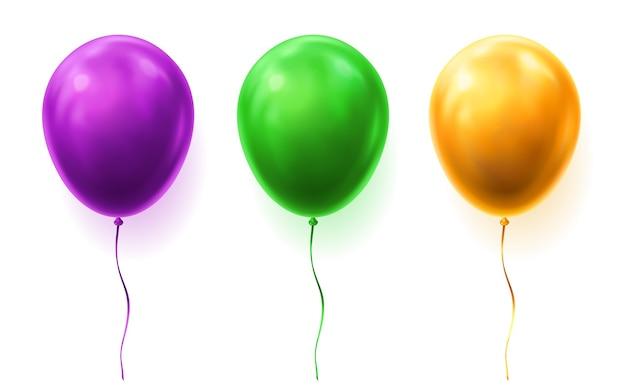 Set van geïsoleerde 3d-ballonnen voor feest of gelukkige verjaardag