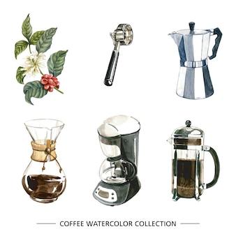 Set van geïsoleerde aquarel koffiezetapparaat