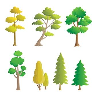 Set van geïsoleerde bomen, natuurlijke ontwerpelementen.