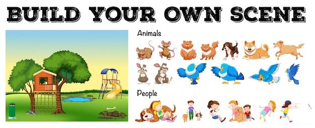 Set van geïsoleerde dieren en mensen met speeltuin scène