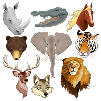 Set van geïsoleerde dierenkoppen vectorelementen