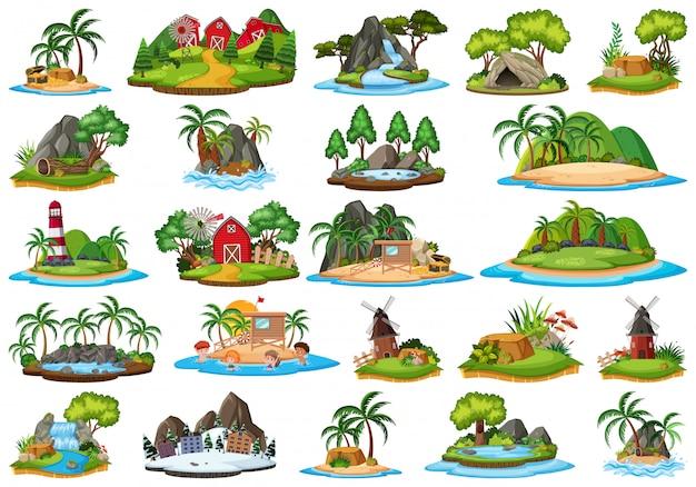 Set van geïsoleerde eilanden