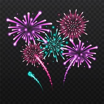 Set van geïsoleerde feestelijk vuurwerk op een zwarte achtergrond