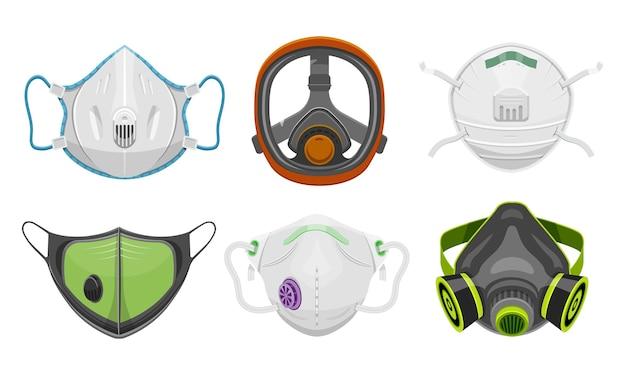 Set van geïsoleerde gasmasker en arts gezichtsmasker.