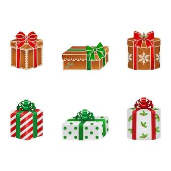 Set van geïsoleerde geschenkdozen vormige taarten kerst peperkoek geschenkdozen