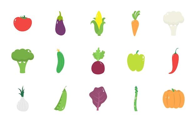 Set van geïsoleerde groenten op een witte achtergrond