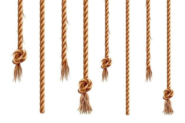 Set van geïsoleerde hangende touwen met kwastjes d hennepkoord met borstel en gerafelde knoop realistisch