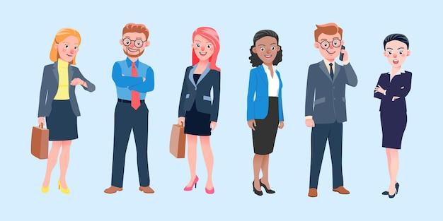 Set van geïsoleerde illustratie international business team tekens werken, staan en glimlachen in office suit