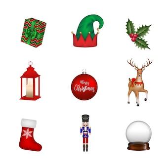 Set van geïsoleerde kerst elementen