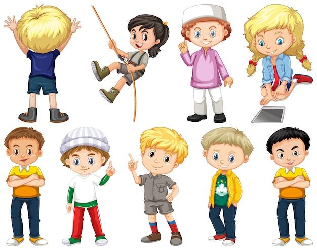 Set van geïsoleerde kinderen met blij gezicht