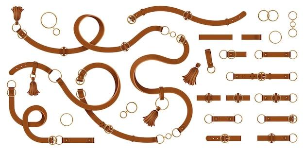 Set van geïsoleerde lederen man riem met metalen ringen