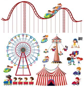 Set van geïsoleerde objecten thema circus