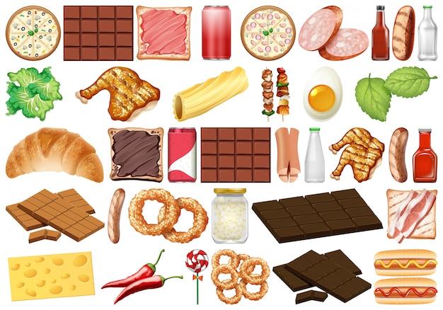 Set van geïsoleerde objecten thema - desserts en voedsel