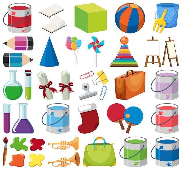Set van geïsoleerde objecten thema school