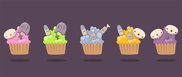 Set van geïsoleerde pictogrammen voor halloween. platte afbeeldingen van muffins met spookachtige versieringen. cupcakes versieren met schedels, vingers, gekruiste en grafstenen.