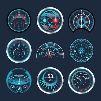 Set van geïsoleerde snelheidsmeters voor dashboard.