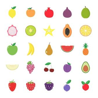 Set van geïsoleerde vruchten en bessen op een witte achtergrond