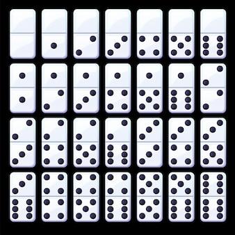 Set van geïsoleerde zwart-wit klassieke dominostenen.