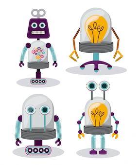 Set van gekke robots