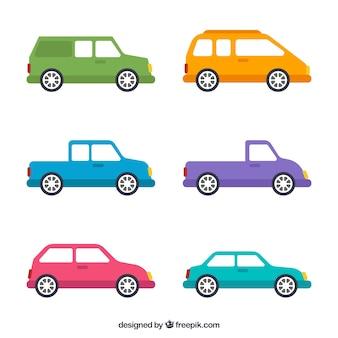 Set van gekleurde auto's in plat design