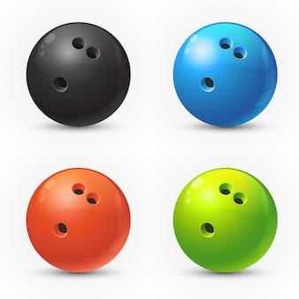 Set van gekleurde bowling ballen
