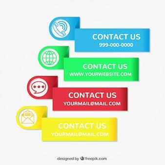 Set van gekleurde contact stickers
